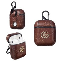 GUCCI PENDANT EMBOSS AIRPODS CASE - BROWN