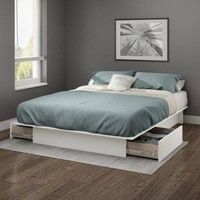 """South Shore Gramercy Full/Queen Platform Bed (54""""/60"""") with Drawers, Multiple Finishes - Walmart.com"""