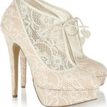 Minerva lace and satin ankle boots