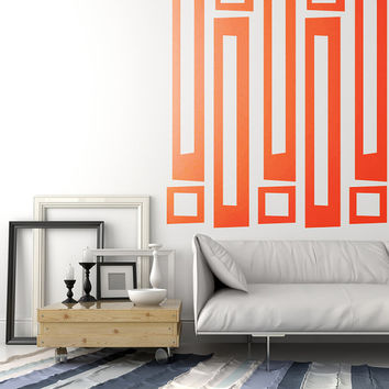 Retro Wall Decals Mid Century Mod Wall Decor Geometric Wall Decals Modern Rectangle Square Pattern Abstract Mad Men Style Decor Shapes