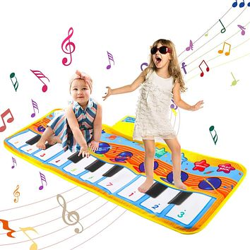 "Invoker Baby Piano Mat, 31.5""X11"" Portable Piano Keyboard Play Mat Touch Crawl Play Dance Carpet Music Blanket with Build-in Speaker, Recording & Volume Function for Kids Toddler Girls Boys"