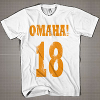 OMAHA! 18 Peyton Manning Denver  Mens and Women T-Shirt Available Color Black And White