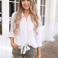 Frayed Distressed Denim Bow Shorts in Olive
