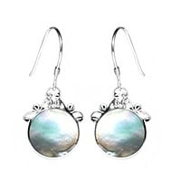 SE-7507-SLW Sterling Silver Earring With Mother Of Pearl