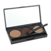 3 Colors Eyebrow Powder Eye Brow Palette Makeup Shading Kit with Brush Mirror