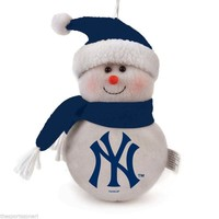 "New York Yankees 6"" Plush Snowman Ornament"