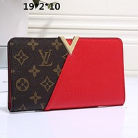 Louis Vuitton classic stitching printing fashion casual ladies long folding wallet card slot bag