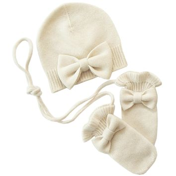 Bow Hat with mittens Cashmere in Cream