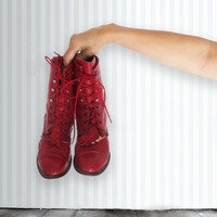 Vintage Rodeo Drive Red Lace Up Kiltie Boots, Red Boots, Lace Up Boots, Size 9M