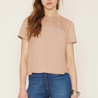 Crocheted Faux Suede Boxy Top