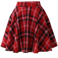 Red Plaid Check Skater Skirt