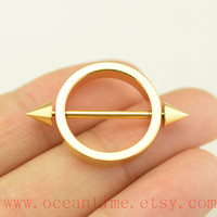 TWO Nipple ring,steampunk gold 14 Gauge 14G Nipple Piercing Barbell, Pierced Ring Jewelry Bar,oceantime