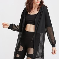 Black Netted Insert Fashion Hoodie Jacket