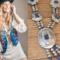 Squash Blossom Style Leather Concho Arrowhead Necklace | Silver Beaded Western Conchos and Blue Leather 80s 90s Grunge Southwestern Bolo
