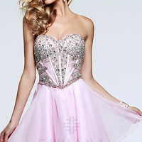 Short Strapless Pink Corset Prom Dress by Faviana