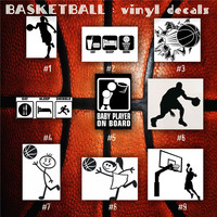 BASKETBALL vinyl decals - 1-9 - bball stickers - hoops car decal - custom window decal - personalized sticker