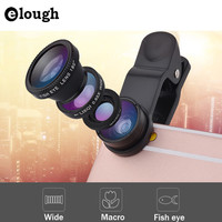 ELOUGH Fish eye universal 3 in 1 fisheye wide angle macro camera phone lens lentes celular for xiaomi iphone 5 5s 6 6s fish eye