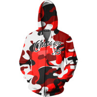Chicago 23 Camo Zip Up Hoodie