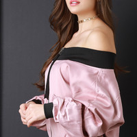 Glossy Off The Shoulder Puffy Bomber Jacket