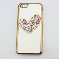 PIAOPIAO bling 3D white leather bow flower shoe diamond case cover for Iphone 5C (love heart color)