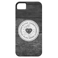 Cool Black White Vintage Wood Texture Play Hard iPhone 5 Case
