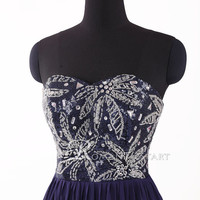 2015 navy blue long backless chiffon prom dress with beading, sweetheart evening dress, floor-length party dresses ,formal dresses,RS1059
