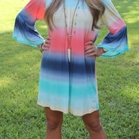 Bangles Boutique — RAINBOW COLORED OFF SHOULDER BELL SLEEVE DRESS