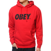 Obey Font Red Pullover Hoodie at Zumiez : PDP