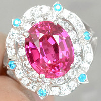 AAA Cherry Pink Topaz with White Sapphire & Blue Apitite