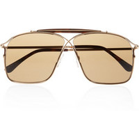 Tom Ford Aviator-style metal and acetate sunglasses – 65% at THE OUTNET.COM