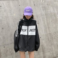 Women's Bomber Korean Punk Harajuku Ulzzang College Style Loose Casual Letter Jacket Female Cute Japan Kawaii Coat For Women