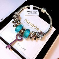 Pandora Women Fashion Crystal Plated Bracelet Jewelry 925 Sterling Silver Inspirationa Purple Blue