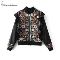 Chic Vintage Floral Embroidered Jacket. Beautiful Ruffles, Beading Retro Outerwear