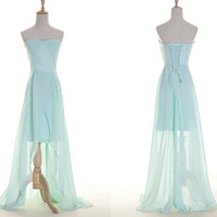 A-line Sweetheart Sleeveless Floor-length Chiffon Prom Dress With Lace up