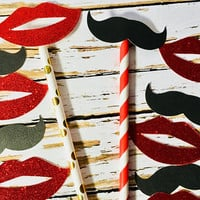 Red & Gold Paper Straws, Lips and Mustache photo props, Valentine's Day photo props, Table Scatter, Party Straws