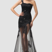 Black One Shoulder Sheer Lace Maxi Evening Dress