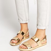 ALDO Sigode Leather Gold Double Strap Flat Sandals