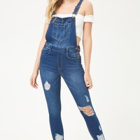 Distressed Cropped Overalls