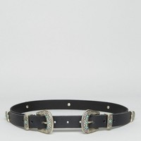 ASOS | ASOS Leather Double Buckle Turq Stone Waist And Hip Belt at ASOS