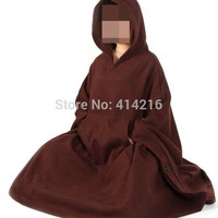 unisex WINTER&Autumn Buddhist martial arts mantle Cape monks abbot suits lay meditation cloak zen nun clothing WARM brown