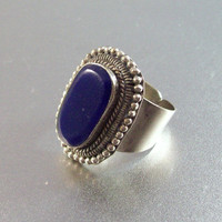 Vintage Silvertone Lapis Blue Bakelite Cocktail Ring, Adjustable