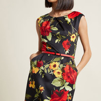 Teaching Classy Sheath Dress in Noir Blossom