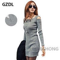 GZDL Fashion Autumn Square Collar Knitted Dress Long Sleeve Bodycon Stretch Women Dress Casual Party Mini Dresses Vestido CL1114