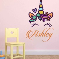 Unicorn wall decal Custom Name Vinyl Wall Decal Large Wall Decal Smiling Unicorn Decal Happy unicorn decal Unicorn lashes cik2280