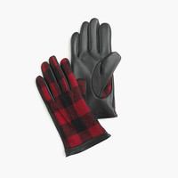 J.Crew Mens Leather Gloves In Buffalo Plaid