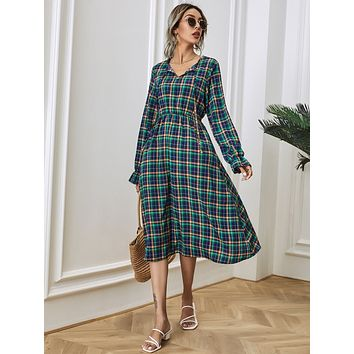 Tartan Print Tie Neck Midi Dress