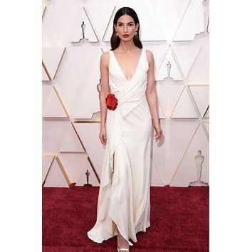 Lily Aldridge Plunging Celebrity Dress Prom Dress Deep V Neckline Oscars 2020 Red Carpet
