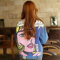 New arrival women's colored beauty red lips print denim jacket Lady's casual loose vintage coat  Female fashion outerwear