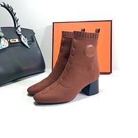 HERMES Trending Women's men Leather Side Zip Lace-up Ankle Boots Shoes High Boots