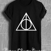Harry Potter Shirt Deathly Hallows Floral Tshirt Unisex Size T-Shirt